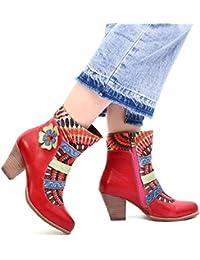 012acb57aa0e gracosy Damen Stiefeletten Bunt, Schuhe Damen Herbst Leder Stiefel Bedruckt  Retro Handgemachtes Reißverschluss Schuhe High…