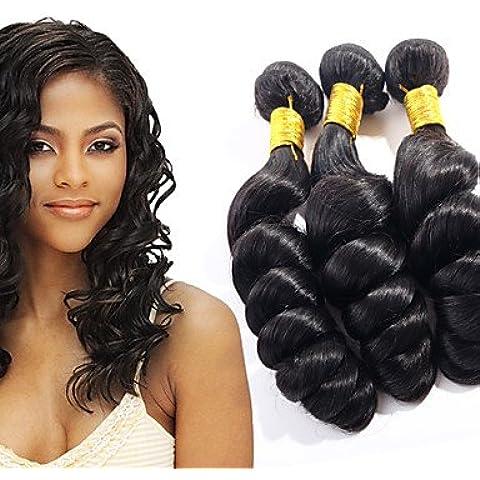 XQXHair 100% capelli non trattati umani del Virgin tessuto brasiliano onda allentata estensioni dei capelli 3pcs allentato vergine ondulata dei capelli trame dei capelli tesse 3 pacchi 300g / lot , 22 22 24 - Calore Trattato Capo