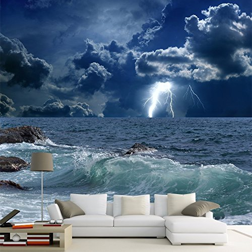 HHCYY Blitz Meerblick Wandbilder Europäischen Luxus Wohnzimmer Dekoration 3D Wandbild-200cmx140cm