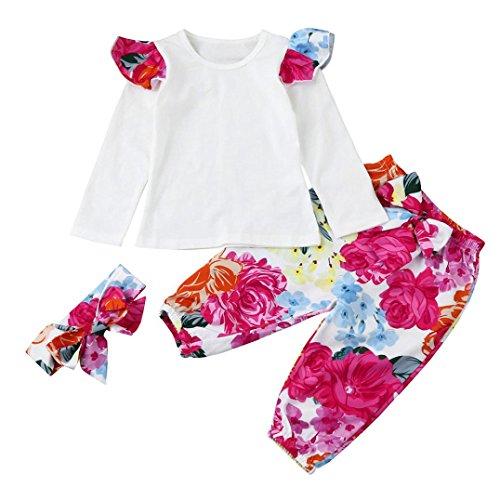 URSING 3 Stück Weich Kleinkind Säugling Baby Mädchen Beiläufig Blumen Drucken Kleider Set Lange Ärmel Tops + Hose + Stirnband Outfits 6-24 Monat (Weiß, 24M)