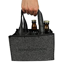 Unbekannt Herrenhandtasche für Bier - aus hochwertigen Filz für 6 Flaschen Männerhandtasche Geschenk