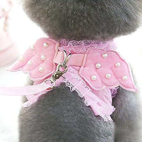 Perla Angelo cane toracica catena guinzaglio del cane barboncino pet per raggiungere a piedi il mio cane corda forniture pet, rosa, l suggeriscono 10 libbre o meno)