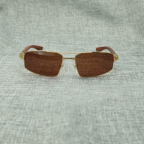 LKVNHP Grade Metallrahmen Mit Kastanienbraunem Holz Tempel Vollrand Sonnenbrille Männer Und Frauen Sonnenbrille Stilvolle Elegante GeschenkbrillenGoldbraun
