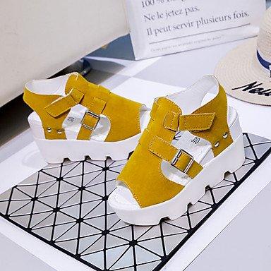 LvYuan Sandali-Casual-Comoda-Piatto-PU (Poliuretano)-Nero Giallo Bianco Grigio Yellow
