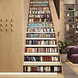 T-YXM Escalier Autocollants DIY étude simulateur bibliothèque escalier Mur Hostel Vivant Autocollant 13 Pieces 7 x 40 inch...