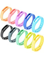 XCSOURCE® 10 Pzs Banda de Repuesto Correa de Recambio Brazalete Extensibles Coloridos para Xiaomi Wireless Pulsera Inteligente Mi band TH175