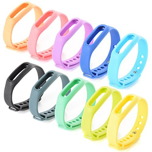 10 colourful replacement bands, replacement straps for Xiaomi Wireless Smart Bracelet Mi Band TH175.