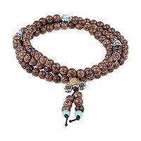 HOUSWEETY Tibetan 108 6mm Natural Wenge Wood Prayer Beads Buddha Mala Buddhist Bracelet Necklace