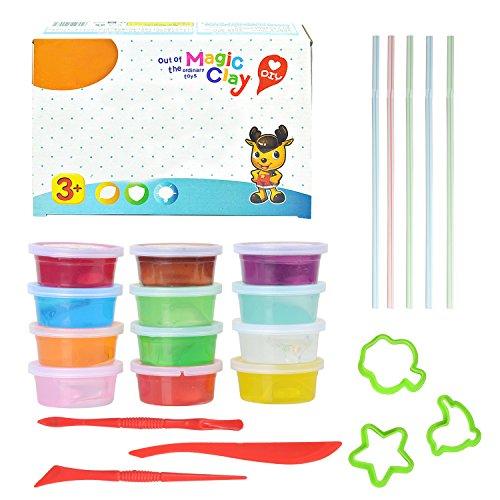 Juguetes para niños Magic Crystal Soft Clay Toy Funny Plasticine Crystal Clay Soft Slime Juguetes hechos a mano creativos de DIY para los niños (paquete de 12)