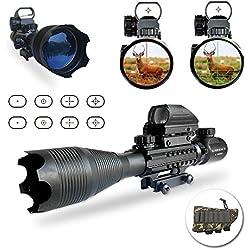 Lunette de visée airsoft, UMsky Portée Rifle optique 4-16x50mm lunette de tir Avec Lumineux De Réticule Optique Rouge Vert portée Illumination double avec holographique