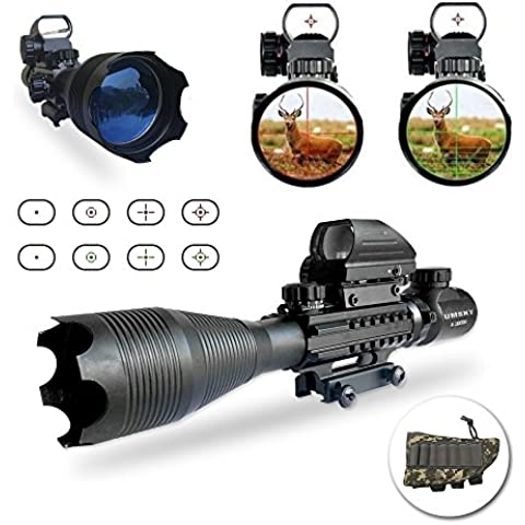 Binocoli da fucile,UMsky fucile cannocchiale 4-16x50 Mirino con zoom illuminato reticolo, Visual rosso e verde, l