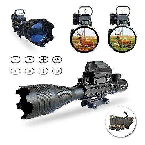 Gewehrzielfernrohre,UMsky Jagd Luftgewehr Zielfernrohr 4-16 x 50 Rote und grüne Leuchtpunktvisier mit Montage Fadenkreuz taktisch Reflexion Holographische Softair Visier Optik (Scope Airsoft)