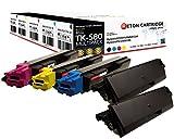 5 Original Reton Toner kompatibel nach (ISO-Norm 19798) ersetzten TK-580K, TK-580C, TK-580M, TK-580Y für Kyocera FS-C5150DN / Kyocera ECOSYS P6021CDN