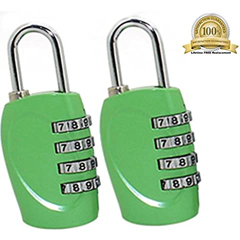 The Ultimate 4 Digit Combination Lock Padlock Set for School GYM & Sports Locker Cabinet Drawer Toolbox Suitcase Luggage - Not TSA Approved Lock (Green 2 Pack) ¡