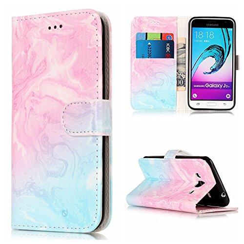Für Samsung Galaxy J3 Horizontale Flip Case Cover Luxus Blume / Marmor Textur Premium PU Leder Brieftasche Fall mit Magnetverschluss & Halter & Card Cash Slots ( Color : H ) C