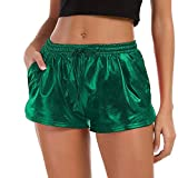 TWIFER Damen Hohe Taille Yoga Sport Shorts 2018 Sommer Kurz Hosen Shiny Hotpants Metallic Leggings (XL, Grün)