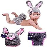 BABYMOON Baby's Rabbit Crochet Clothing/Photography Props (Charcoal Grey) -Set of 2