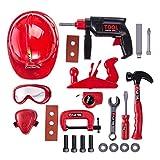 Tosbess Werkzeugkoffer Werkbank Spielzeug Set 21 Stücke werkzeuggürtelset für Kleinkinder Kinder Motorik Praktisch Bildung Spielzeugfür Kinder ab 3 Jahren