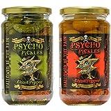 Psycho Pickles Combo - 1 x fantasma encurtido de pimienta Cebollas 1 x Ghost Pepper pepinillos en escabeche