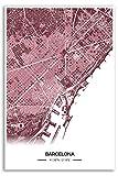 Zulumaps Poster Barcelona Stadtplan - Hochwertiger Kunstdruck 20x30cm, Farbe: Rot