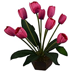 Thefancymart Medium Size artificial Tulip Flower plant with Wood Pot ( Code-620 )