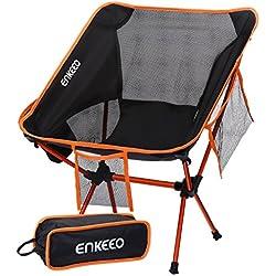 ENKEEO Chaise de Camping Pliable Chaise Camping Ultra-Légères Portatives avec Le Sac de Transport (1,2 kg)