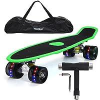 """Yorbay 22"""" Monopatín Skateboard Retro con la Cubierta del Rugosa, la Bolsa y T-Herramientas ABEC- 7 Rodamiento Ruedas LED-PU 59MM hasta 100kg (Tabla Verde(Papel de Lija)/Ruedas led Negras)"""