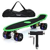 """Yorbay 22"""" Mini Cruiser Skateboard Cuscinetti a Sfera ABEC-7 Vari Colori e Diversi Tipi di Ruote a Scelta (Pannello Verde con Carta vetrata Ruote LED)"""