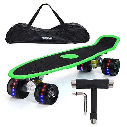 "Yorbay 22\"" Retro Skateboard Mini Cruiser Board Komplett Fertig Montiert (Deck Grün(Sandpapier)/ LED schwarz Räder)"