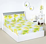 Bombay Dyeing 525B 164 TC Cotton Double Bedsheet with 2 Pillow Covers - Green
