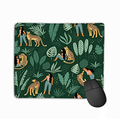Mouse Pad Seamless Pattern Women Leopards Tropical Leaves trendy Paper Cover Fabric Other Users Beautiful Rectangle Rubber Mousepad 11.81 X 9.84 Inch