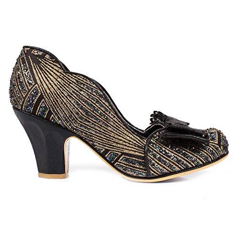 Irregular Choice Disco Dreams Retro Art Déco 1920s Gatsby Charleston Chaussures Vintage Noir