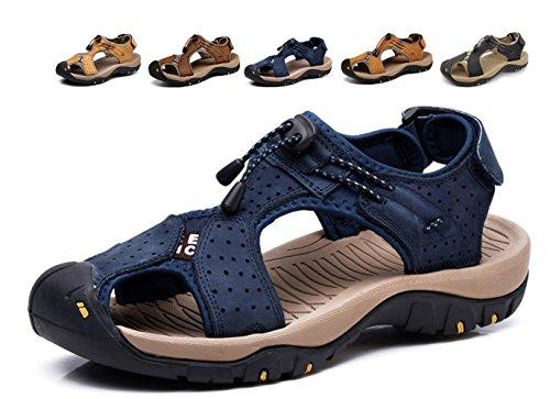 Sandali sportivi sport outdoor uomo scarpe trekking pelle casual traspirante spiaggia slides fisherman antiscivolo arrampicata estivi,blu,42/42.5 eu,43 cn label size