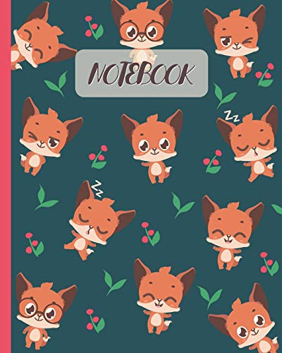 Notebook: Cute Foxes Cartoon Cover - Lined Notebook, Diary, Track, Log & Journal - Gift for Boys Girls Teen Men Women Who love Red Fox (8