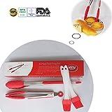 Premium en acier inoxydable verrouillage Pince avec silicone alimentaire cuisson Tips-4Lot Pince (22,9x 30,5cm + 2pièces de brosse de 20,3cm)...