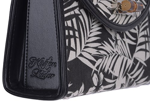 Küstenluder Damen Tasche Marin Tropical Bamboo Handtasche Schwarz Cremeweiß mit schwarzem Muster