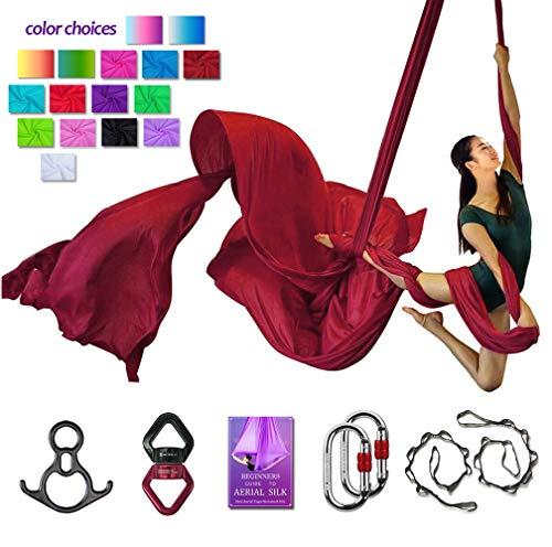 SYCYKA Antennen-Seiden-Set für Yoga, Yoga, Hängematte, Aerial Acrobatic, Circus Arts, Aerial Dance(L: 10 m B: 2,8 m), weinrot