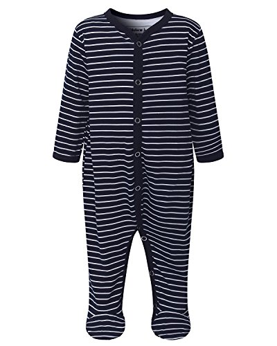 Kidsform Baby Romper Pyjamas Long Sleeve Footie Sleepwear Onesie Sleepsuit Newborn Bodysuit blue-stripe 6M