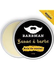BARBMAN : Baume à Barbe (100ml) enrichi en huile de Jojoba et beurre de cacao pour hydrater et nourrir peaux et barbes. Discipline la barbe en lui apportant éclat et douceur. Cadeau pour hommes barbus. (Bois de Santal)
