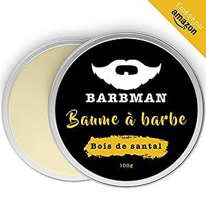 BARBMAN : Baume à Barbe enrichi en huile de Jojoba et beurre de cacao pour hydrater et nourrir peaux et barbes. Discipline la barbe en lui apportant éclat et douceur. Cadeau idéal pour hommes barbus. (Bois de Santal)