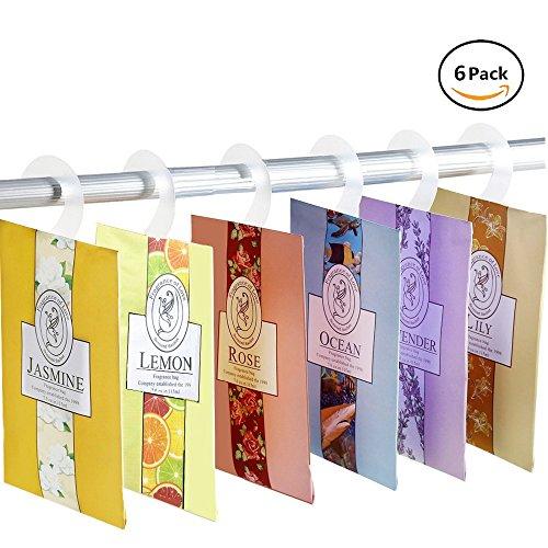 YUMSUM Fresh Kleidung Duftende Duftsäckchen 6 Pack Set mit Aufhänger geeignet für Schubladen Wandschränke Zimmer Kleiderschrank Badezimmer Cars, 16g (6er-Pack) (Aromatherapie Jasmin Parfüm)