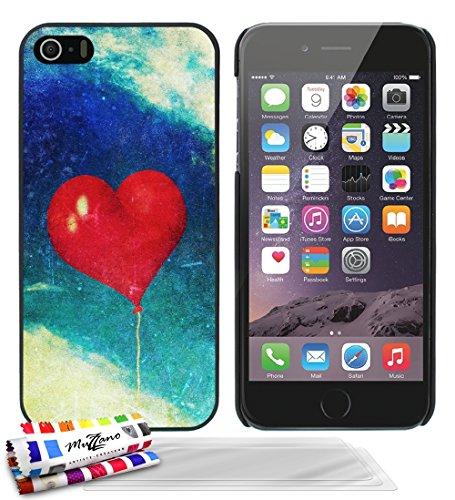 Ultraflache weiche Schutzhülle APPLE IPHONE 5S / IPHONE SE [Herzen ballon vintage] [Grun] von MUZZANO + STIFT und MICROFASERTUCH MUZZANO® GRATIS - Das ULTIMATIVE, ELEGANTE UND LANGLEBIGE Schutz-Case f Schwarz + 3 Displayschutzfolien
