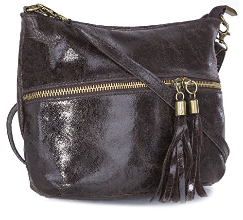 Big Handbag Shop donna vera pelle tasca frontale lunga Tassel Estrattore Borsa, marrone (Coffee), Taglia (Tono Oro Nappa)