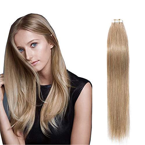 Extension capelli veri umani a fasce adesive 20 fasce tape extension 50g remy human hair lisci lunghi con biadesivo 2.5g/fascia 50cm 20