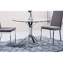 Adec - Mesa de comedor redonda ginebra, medidas 100 x 100 x 75 cm, color transparente y acero