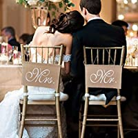Greenlans Mr and Mrs Burlap Chair Sign Banner Set for Rustic Vintage Wedding Party Decoration