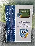 Einladung Einladungskarte Einschulung 1. Schultag Schulanfang Eule Tafel personalisierbar blau