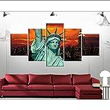 lbonb (Pas De Cadre) Mur Art Moderne Art Impression Toile 5 Panneau New York Statue De La Liberté pour Salon Décoration De La Maison Photo Modulaire Affiche...