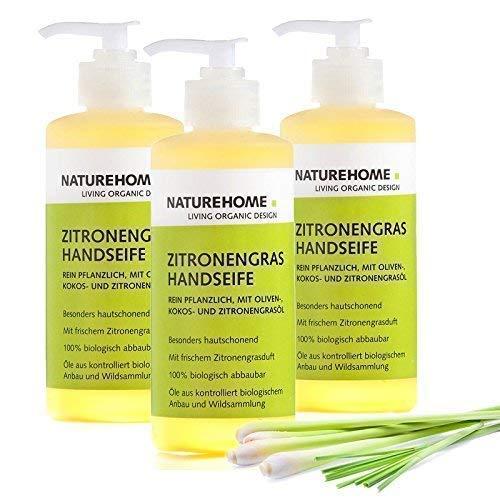 NATUREHOME Bio Handseife Zitronengras 3er Set - Natürliche Vegane Handseifen im Spender Naturseife Flüssigseife Zitrone Naturkosmetik Set 3 Seifen mit je 300 ml -