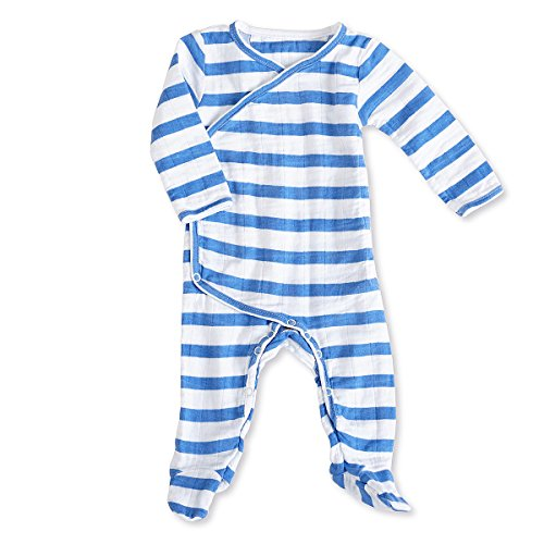 aden + anais Kimono Bodysuit (6 bis 9 Monate, Langarm, Ultramarin Blazer Streifen, 1-teilig)